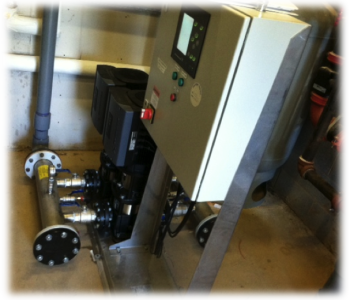 *Grundfos® MPC variable speed duplex booster system.